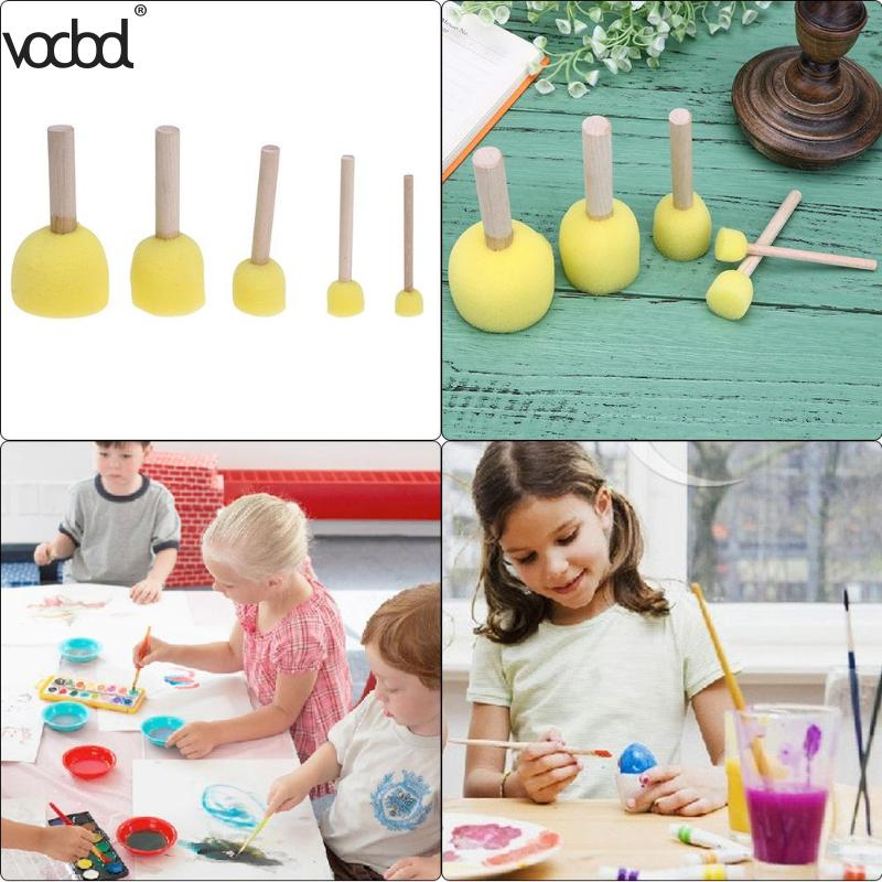 5pcs/set Sponge Paint Brush Toys Wooden Handle Seal Sponge Brushes Kids Children Drawing Painting Graffiti Tools School Supplies