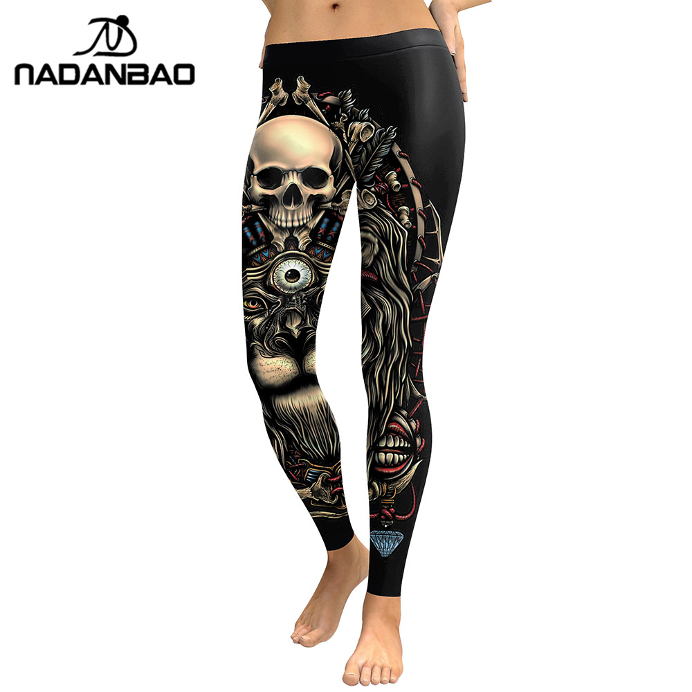 NADANBAO 2019 New Leggings 3D Skull Head Leggins For Women Girl Lion Printed Workout Legging Slim Elastic Pants Legins