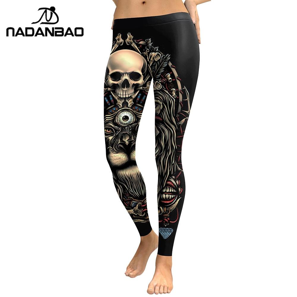 NADANBAO 2019 New Leggings 3D Skull Head Leggins For Women Girl Lion Printed Workout Legging Slim Elastic Pants Legins