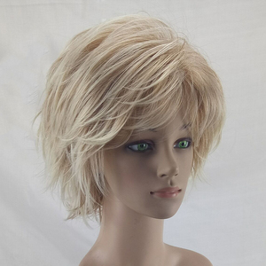 Image 4 - HAIRJOY White Women Synthetic Hair Wigs Blonde Short Curly Wig Heat Resistant  Hairstyle 2 Colors Available Free Shipping