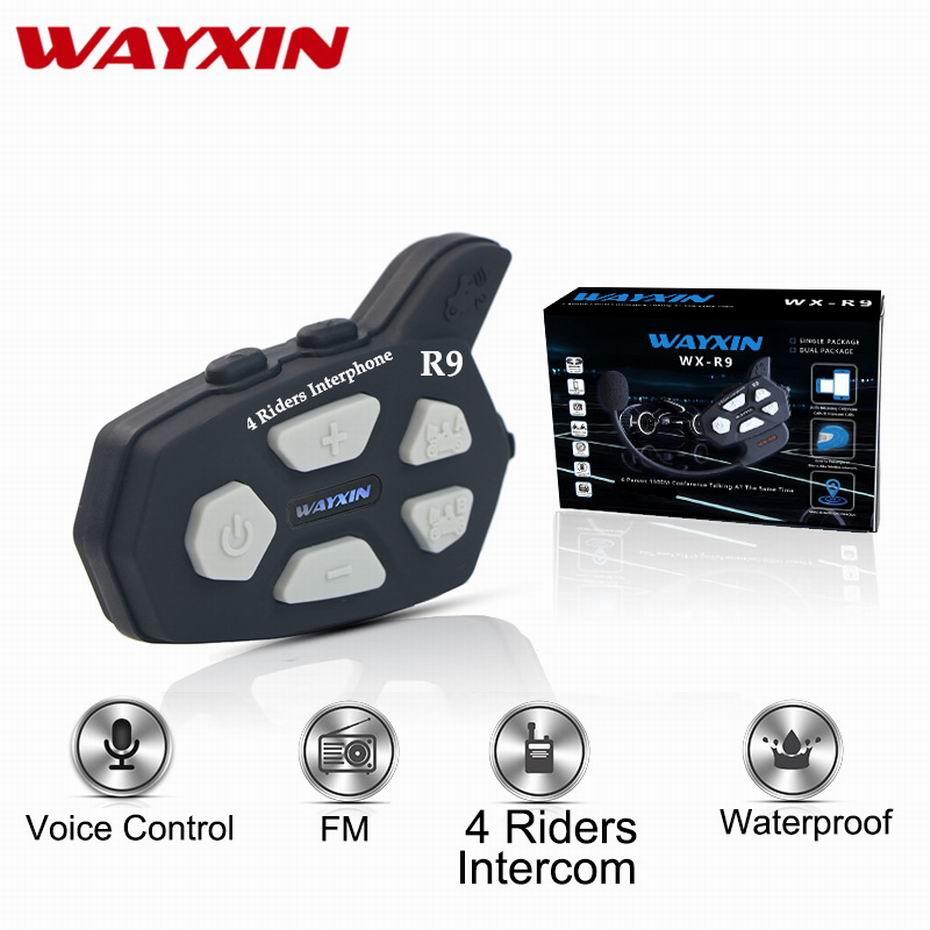 Wayxin Bluetooth Intercom R9 4 Riders Talking At The Same Time Helmet Headsets Motorcycle Intercom FM Helmet Football Referee