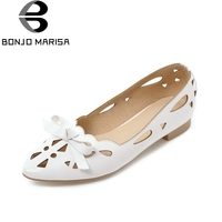 BONJOMARISA Women S Quality Slip On Hollow Comfortable Bow Pointed Toe Flats Spring Summer Shoes Woman