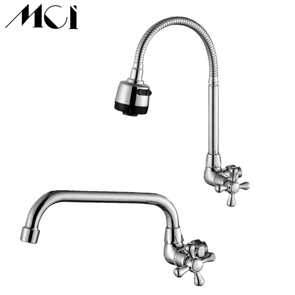 Chrome Finish Wall Mounted Brass Water Tap Single Handle 360 Degree Rotation Single Hole Single Cold Kitchen Faucet Mci