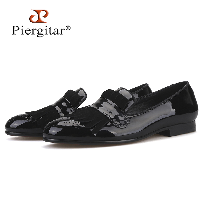 Piergitar Shoes Men Loafers Suede Printing Patent with Classical-Brogue And Fringe Party