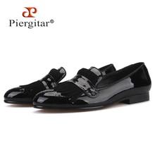 Piergitar 2019 yeni stil El Yapımı erkek patentli deri ayakkabı Klasik Brogue Baskı ve Süet Saçak Parti erkek mokasen ayakkabıları
