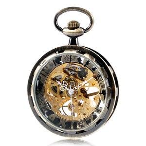 Image 3 - Vintage bronce engranaje de esqueleto esfera de oro de lujo mecánico cuerda a mano reloj de bolsillo reloj analógico Steampunk Fob reloj regalo