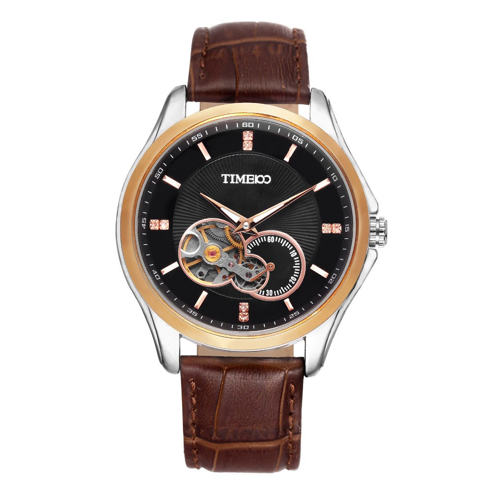 2016 Luxury TIME100 Men's Automatic Self-wind Mechanical Skeleton Watches Brown Leather Strap Gold Dial Automatic Watch For Men tevise men watches automatic self wind mechanical black leather tourbillon gold tonneau dial crocodile pattern wristwatch t8012