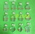 Envío gratis 35 unids blanco acrílico llaveros llaveros movible de la foto de plástico llaveros cuadrado clave Rectangle circulares corazón accesorios