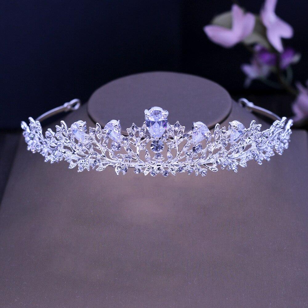 Stunning Art Deco Crystals Rhinestones Alloy Cubic Zircon Wedding Tiara CZ Bridal Queen Princess Pageant Party Crown Bridesmaids