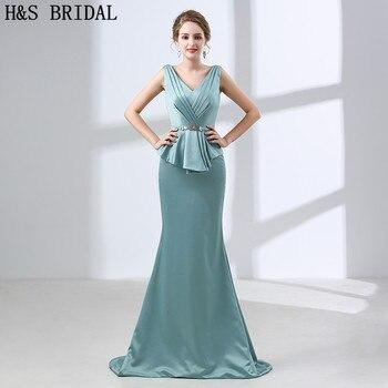558aa5cc4f9 H   S nupcial v-cuello verde noche vestido Longo sirena abiye largo Vestidos  noche robe de mariee Vestidos de baile con cinturón