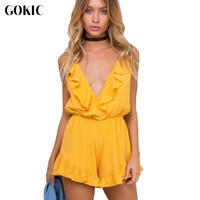 GOKIC 2017 New Sexy Ruffle Jumpsuit Romper Women Yellow Causal Hollow Out Summer Beach Playsuit Deep