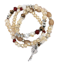 3 Pcs/Set charm gold tassel chains nice new natural crystal Key bead stone bracelet set for woman 2019 jewelry factory