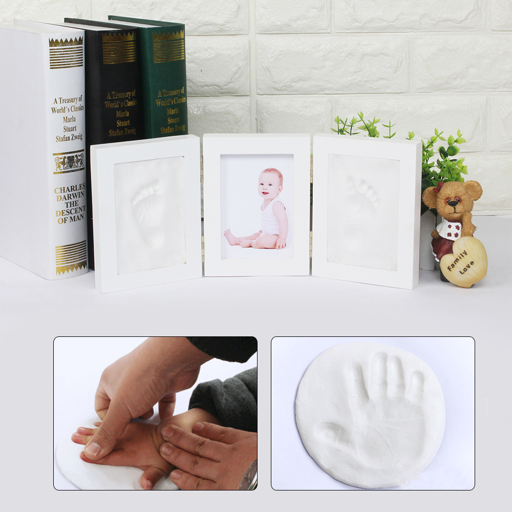 Newborn Diy Photo Frame Baby Clay Handprint Footprint Picture Frame Exquisite Souvenirs Home Decorations Ornament Print Keepsake