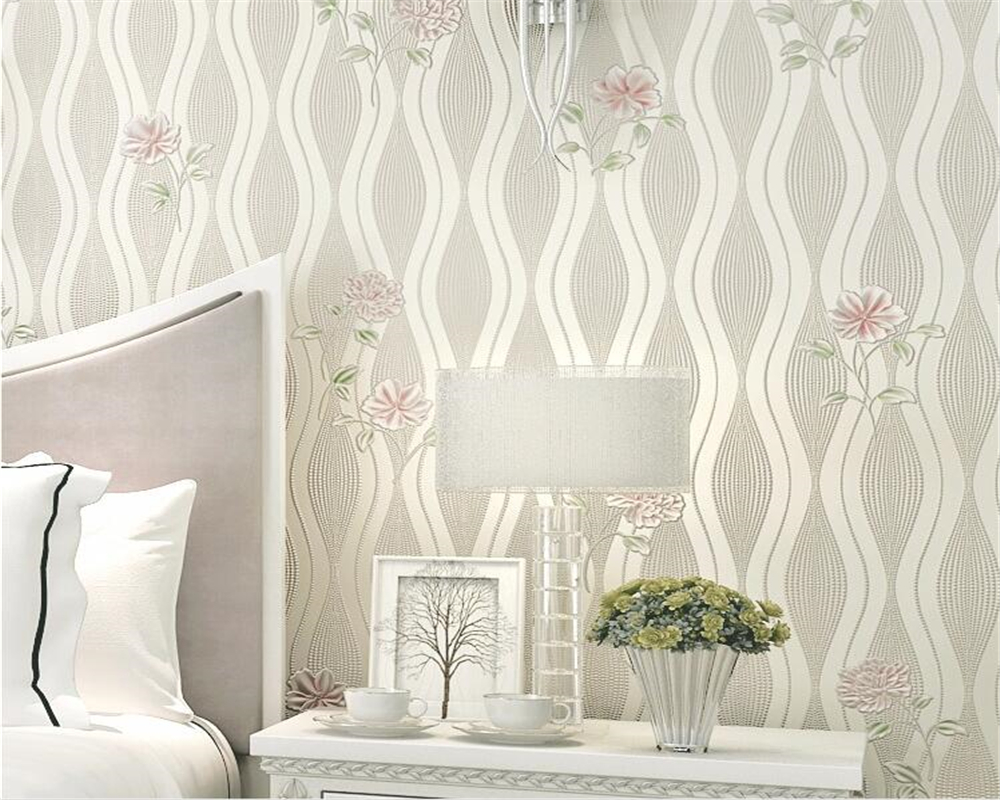 Beibehang Modern Fashion Garden Striped Big Flower 3D Non-woven Wallpaper Bedroom Living Room Background Wall 3d Wallpaper 10 M