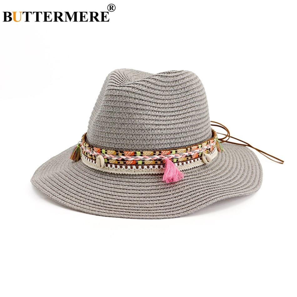 BUTTERMERE Women Straw Sun Hat Solid Grey Ladies Elegant Panama Jazz Hat Beach Weave Spring Summer Female Fedora Hat With Tassel