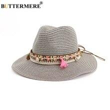 BUTTERMERE Women Straw Sun Hat Solid Grey Ladies Elegant Panama Jazz Beach Weave Spring Summer Female Fedora With Tassel