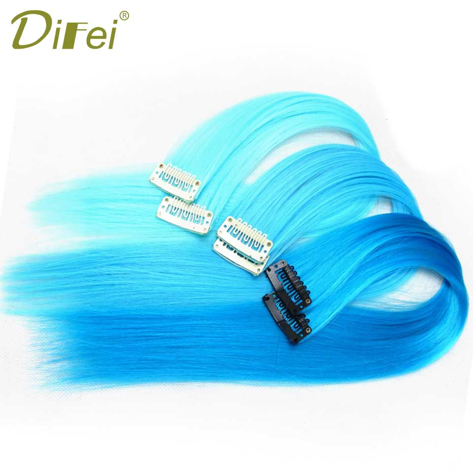DIFEI wig 1 Clip In Synthetic Hair Extensions 57 Colors 16 Inch 50cm Long Straight Clip in Hair Pieces Women Girls
