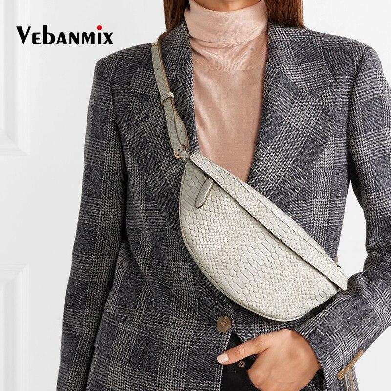2019 New Leather Fanny Pack Serpentine Waist Bags Fashion Snake Skin Waist Belt Bag High Quality Female Purse Shouder Handbag
