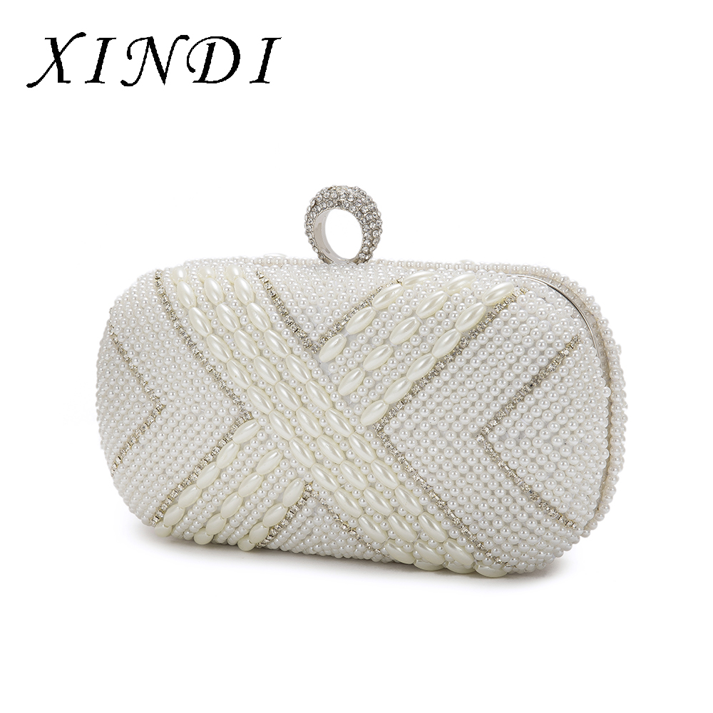 XINDI Luxury Women Rhinestone Pearl Beading Bags Finger X Shaped Evening Bag Chain Clutch Purse Dinner Party Handbags With Chain pearl beading tailered blazer