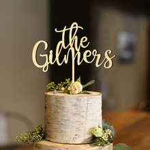 The LaThe Last Name Personalized Wedding Cake Topper,Custom Surname,Custom Wood Laser Cut Calligraphy Topper