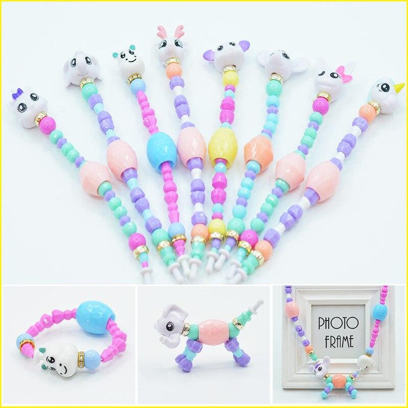 Vsco Girl Plastic Charm Cartoon Bracelet Bangle Girls Magic Animal Bracelets Deformation Classic Unicorn Beads Toy For Kids Gift