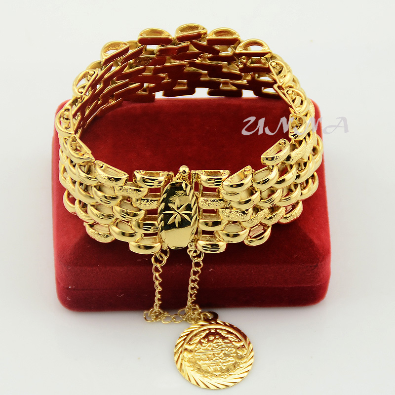 Womens Mens Ladies Wide Solid Yellow Gold Filled Plated Big ...