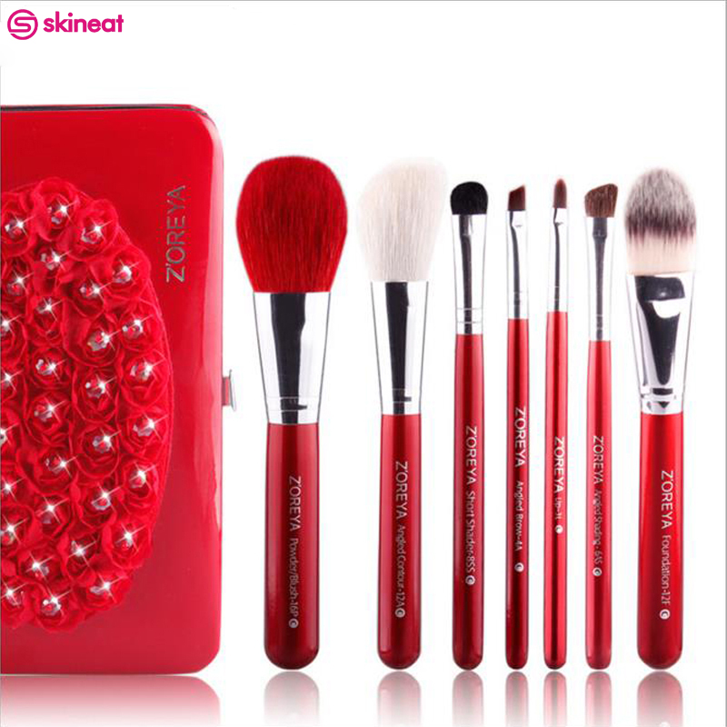 2017 New Portable Makeup Brush Set 7 Pcs Quality Oval Make Up Brushes Cosmetics Tool Kit With Iron Box Holder For Famales high quality 7 makeup brush set kit in sleek berry red leather bag make up portable brushes free shipping
