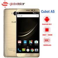 Cubot A5 Android 8,0 смартфон MT6753 Восьмиядерный 5,5 дюймов FHD сотовый телефон 3 ГБ Оперативная память 32 ГБ Встроенная память 13MP отпечатков пальцев OTG Мо