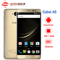 Cubot A5 Android 8.0 Smartphone MT6753 Octa Core 5.5 Inch FHD Cell Phone 3GB RAM 32GB ROM 13MP Fingerprint OTG Mobile Phone