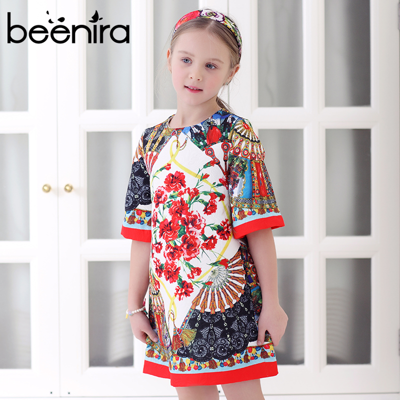 2017 New European and American Style Girls Dress Kids Clothes Knee Length Dresses Children Floral Pattern Dress Party Dressing new summer baby girls floral dress with cap european style designer bow children dresses kids clothes 3 8y