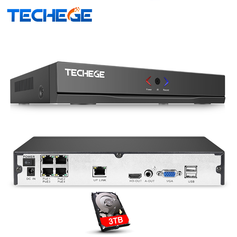 Techege H.264 4CH Full HD 48V 1080P POE NVR For CCTV camera POE IP Camera FTP ONVIF P2P HDMI Network Video Recorder XMEYE remote