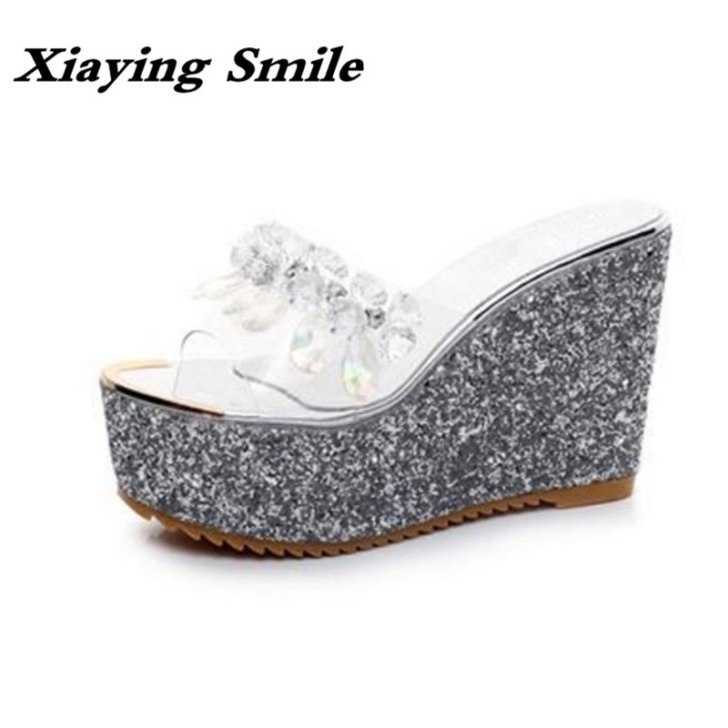 Xiaying Smile Woman Slippers Shoes Women Sandals Summer Wedges Heel Platform Creeper Slides Slippers Bling Crystal Women Shoes xiaying smile summer new woman sandals casual fashion shoes women zip fringe flats cover heel consice style rubber student shoes