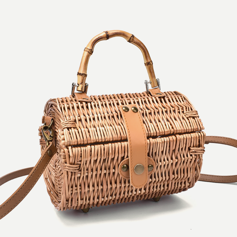 2019 New Original Bamboo Small Round Crossbody Bags Rattan Straw Retro Simple Handbag Shoulder Bag
