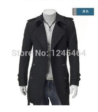 Free Shipping Men Coat / Long Double-breasted Coat/Jacket Black/Gray Promotion Cheap Winter Long Coat Size M L XL XXL