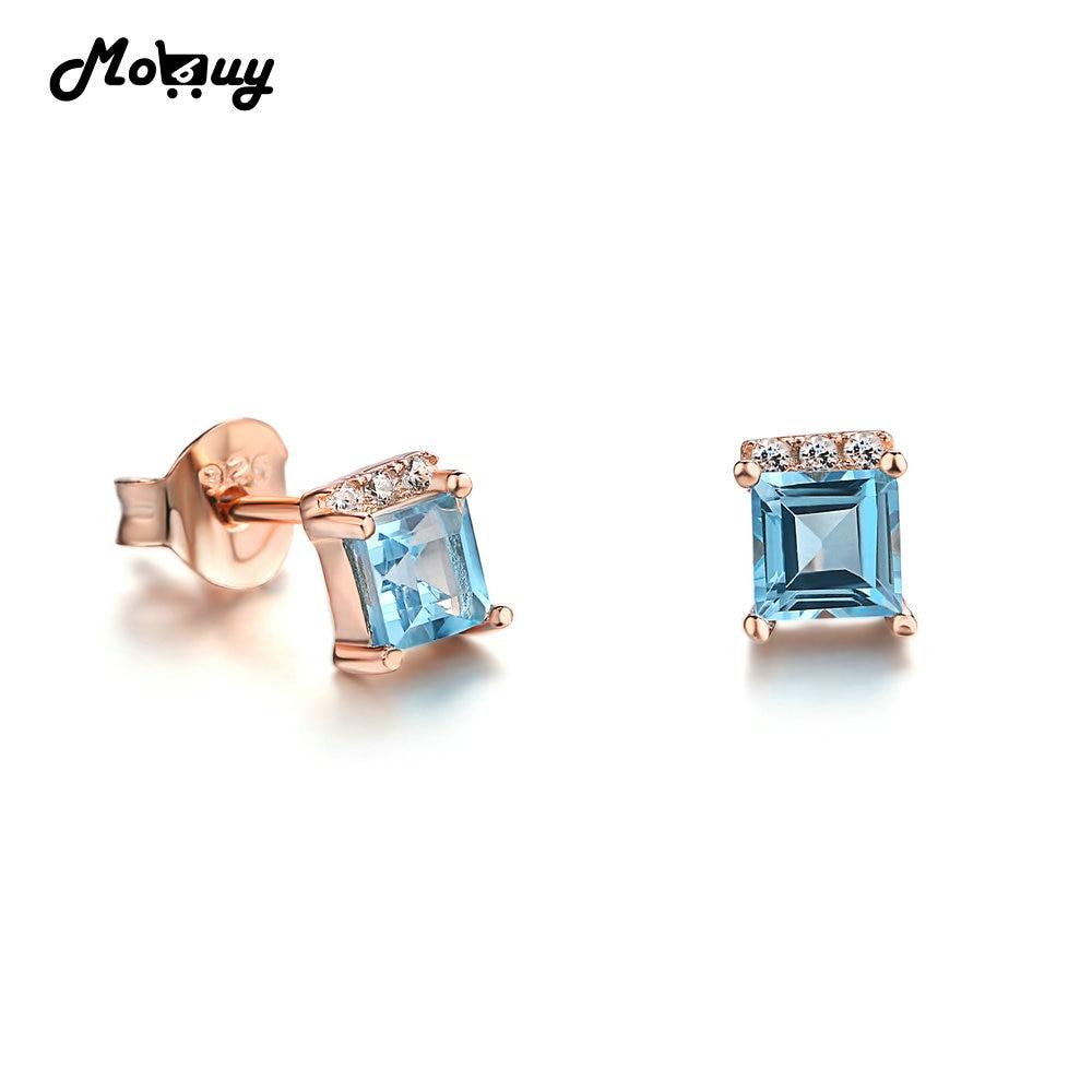 MoBuy MBEI046 kvadratinis mėlynas natūralus brangakmenis 4mm Topazo auskarai 925 sterlingas sidabro baltas auksu padengtas S925 papuošalai moterims