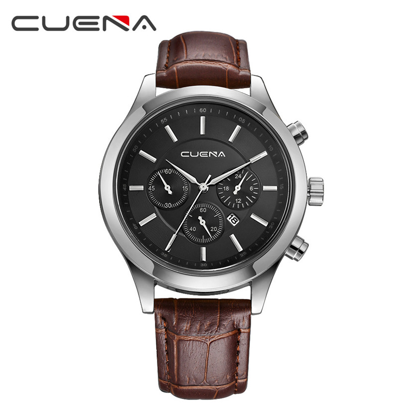 все цены на CUENA Men Casual Checkers Faux Leather Quartz Analog Wrist Watch With Calendar relojes hombre 2017 erkek kol saati july10 онлайн