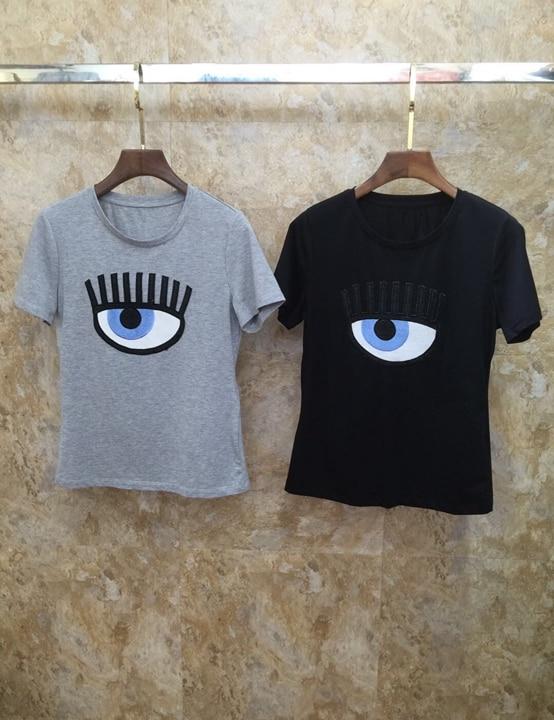 2019 Summer New Women s Round Neck Chest Eye Embroidery Short sleeved Baituan Top 701