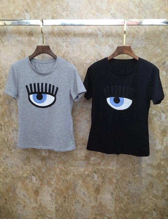 2019 Zomer Nieuwe vrouwen Ronde Hals, Borst, Eye Borduren Korte mouwen Baituan Top 701-in T-shirts van Dames Kleding op  Groep 1