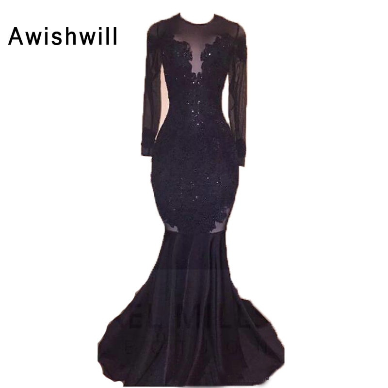 Special Price Robe Longue Manche Longue Sexy Backless Evening Gowns For Women Sweep Train Mermaid Style Long Sleeves Party Prom Dress Black October 2020