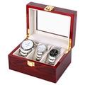 3 Сетки Часы Дисплей Окно Красный Деревянный Luxus Watchbox Смотреть Ящик Прозрачный Стеклянный Купол Часы Хранения Замок Корпус Часов Коробка HZ04