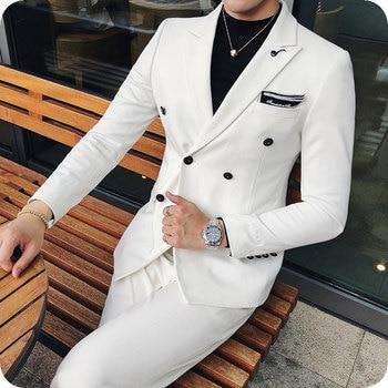 White Men's Classic Suits Groom Wedding Tuxedo Double Breasted Custom Made Man Blazer Peak Lapel 2Piece Coat Pants Costume Homme