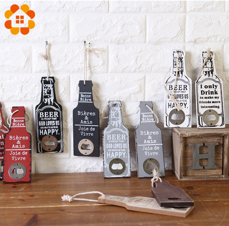 Us 2 98 12 Off 1pcs Creative Home Decoration Accessories Rustic Retro Wooden Multipurpose Beer Bottle Opener Diy Kitchen Home Decor Crafts In Party