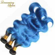 7A Ombre Brazilian Hair Body Wave Two Tone Color Blue Brazilian Hair Ombre Blue color hair 3 bundle Ombre Human Hair