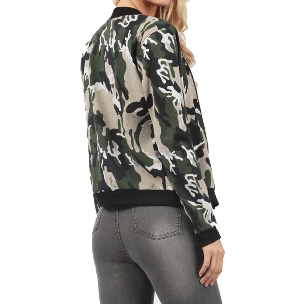Women Camouflage Bomber Jackets 2017 Female Long Sleeve Zipper Coat Flight  Suit Casual Print Jacket Coats Plus Size Clothing-in Basic Jackets from  Women s ... aa4316fd5