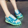 Женщины повседневная обувь женщин привело обувь для взрослых 2016 горячая красочные мужская обувь светодиодные светящиеся обувь мужчина женщины доска USB зарядки