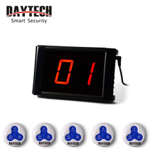 DAYTECH Restaurant Calling System Waiter Service Call Buttons Pager System Call Buzzer 433MHZ LCD Panel Pagering System one set pager system for restaurant 2 display with software work with 40pcs single key waterproof buzzer free dhl shipping