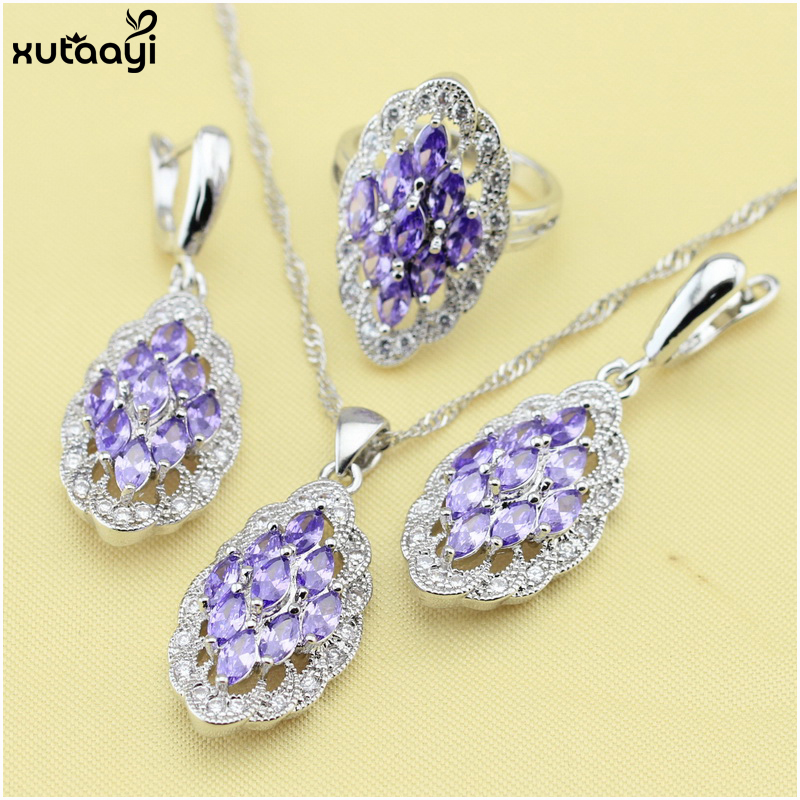 XUTAAYI Fashion 925 Silver Jewelry Sets For women Purple Cubic Zirconia White Crystal Royal Wedding Necklace/Rings/Earrings