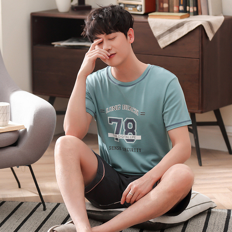 Men 2019 New Korean Cotton Summer Pajamas Fashion Short Sleeve Shorts Thin Casual Men Pajama Sets Mens Pajama Set Pajama Set