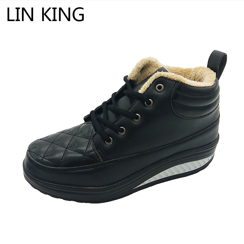 LIN KING New Women Winter Shoes Wedge Heel Elevated High-top Casual Fashion Platform Warm Swing Shoes Ankle Fashion Snow Boots nayiduyun women genuine leather wedge high heel pumps platform creepers round toe slip on casual shoes boots wedge sneakers