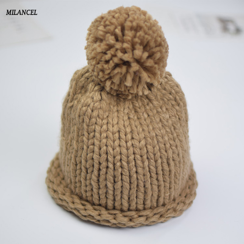 MILANCEL Ages 1-3Y Baby Hat Children Winter Hats For Girls&Boy Cotton Warm Knitted Beanie Pompom Cap Baby Hat